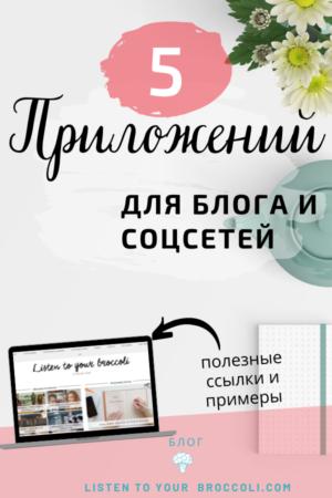 Блог Listen to your broccoli - 5 приложений для работы над блогом